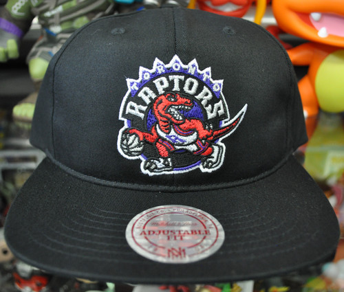 Toronto Raptors Deadstock Fit Flat Brim Mitchell & Ness Black Snapback Hat