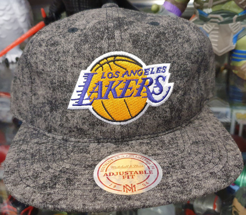 Los Angeles Lakers Deadstock Fit Flat Brim Mitchell & Ness Grey Snapback Hat