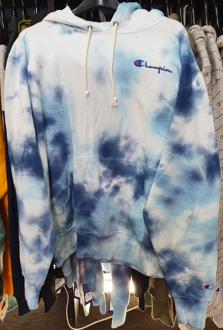 Champion Reverse Weave Big Sky Dye Blue Hoodie Pullover Jersey