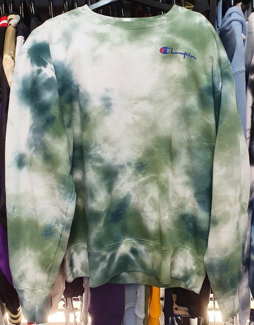 Champion Reverse Weave Big Sky Dye Green Crewneck Jersey