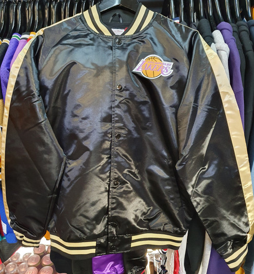 Los Angeles Lakers Mitchell & Ness Black & Gold Satin Jacket