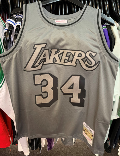 Los Angeles Lakers Shaquille O'neal Grey Gunmetal 34 Mitchell & Ness Swingman Jersey