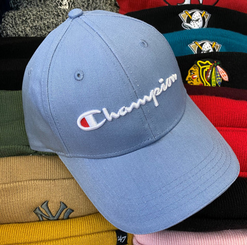 Champion Script Light Blue Strapback Dad Hat
