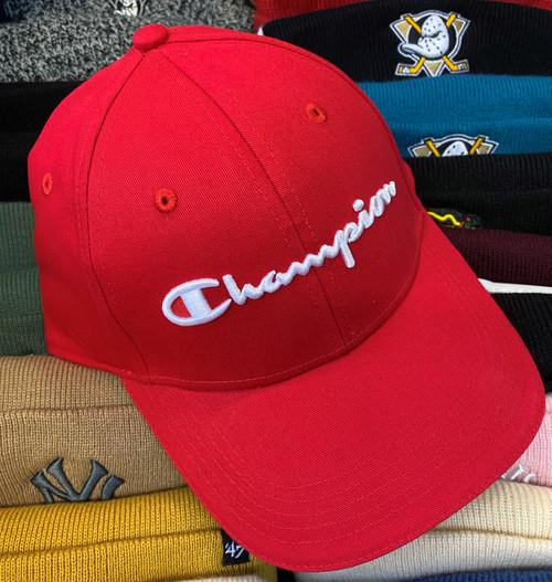 Champion Script Red Strapback Dad Hat