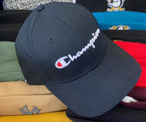 Champion Script Black Strapback Dad Hat