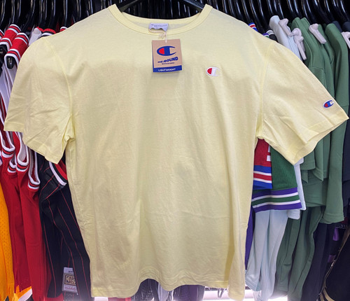 Champion Heritage Small Logo Rebound Recycled Lightweight Lemon Yellow  T-Shirt