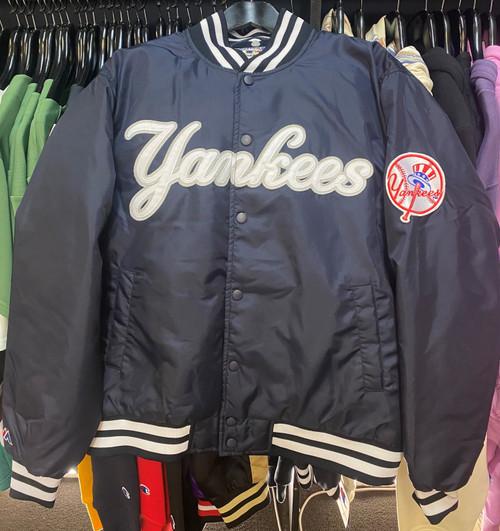 New York Yankees MLB Majestic Quilted Satin Baseball Bomber Navy Jacket