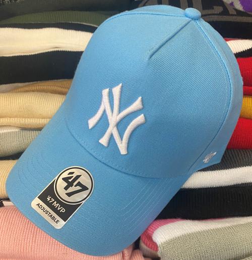 New York Yankees 47Brand Light Blue MVP DT Logo Snapback Hat