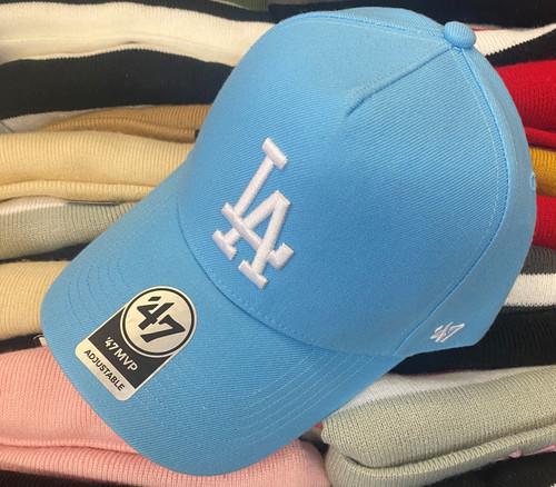 Los Angeles Dodgers 47Brand Light Blue MVP DT Logo Snapback Hat