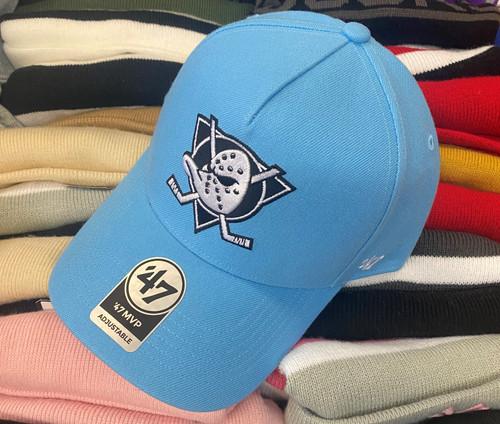 Mighty Ducks 47Brand Light Blue MVP DT Logo Snapback Hat