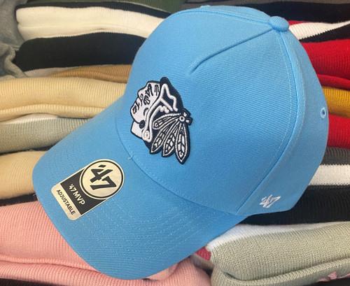 Chicago Blackhawks 47Brand Light Blue MVP DT Logo Snapback Hat