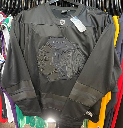 Chicago Blackhawks Blackout Majestic NHL Long Sleeve Jersey