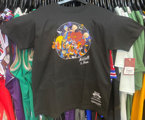 Space Jam Tune Squad Group Circle Mitchell & Ness Black T-Shirt