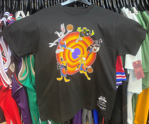 Space Jam Tune Squad Group Characters Mitchell & Ness Black T-Shirt