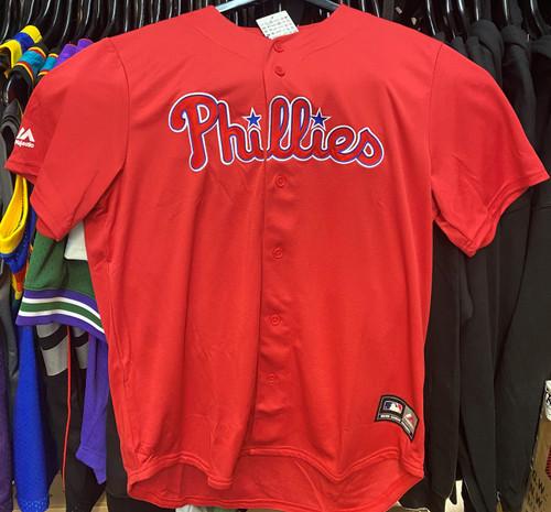 Philadelphia Phillies MLB Majestic Mesh Button Up Red Baseball Jersey