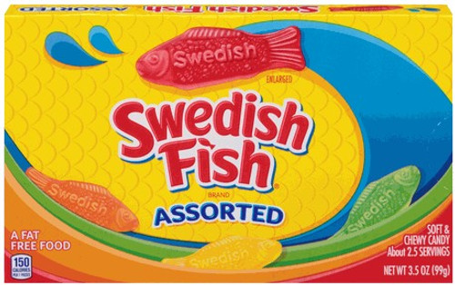 Swedish Fish Assorted Soft & Chewy Candy Fish - 3.5 oz theater box