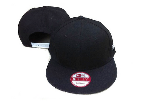 Plain   Blank Black New Era 9FIFTY Snapback Hat with ! a28e512855b
