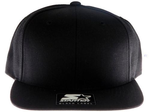 Starter Plain Blank Black Snapback Hat c5494e22910b