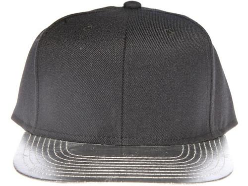 Silver Metallic Brim Blank Plain Black Unbranded Snapback Hat