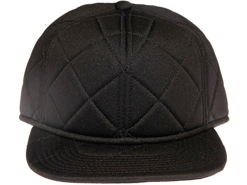 Black Quilted Plain / Blank Unbranded Snapback Hat