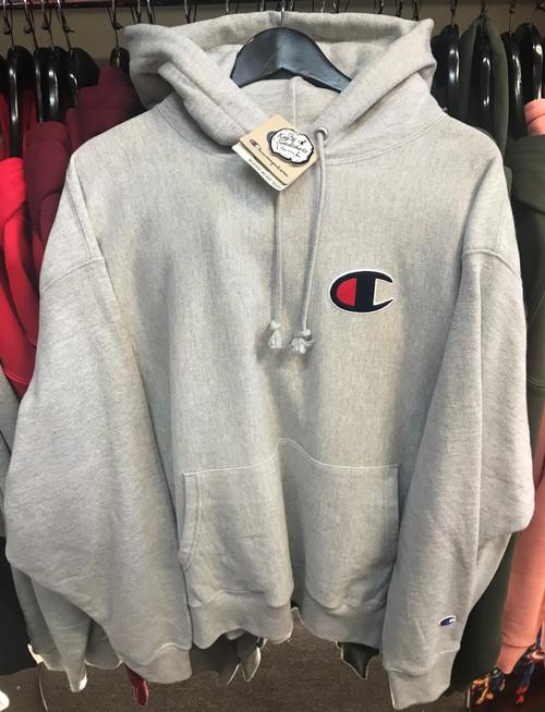 Champion Big Logo Reverse Weave Oxford Grey Hoodie Pullover Jersey
