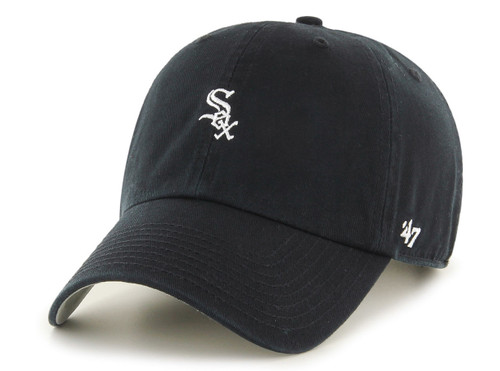 Chicago White Sox Black Small Logo 47Brand MLB Strapback Clean Up Hat