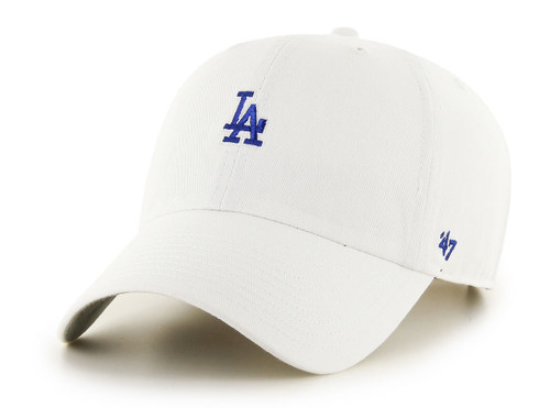 L.A Dodgers White Small Logo 47Brand MLB Strapback Clean Up Hat