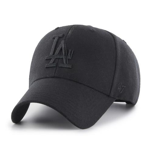 11853741deb LA Dodgers Black Large Logo 47Brand MLB Snapback Clean Up Hat