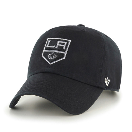 Los Angeles Kings 47Brand Black White Logo NHL Strapback Clean Up Hat