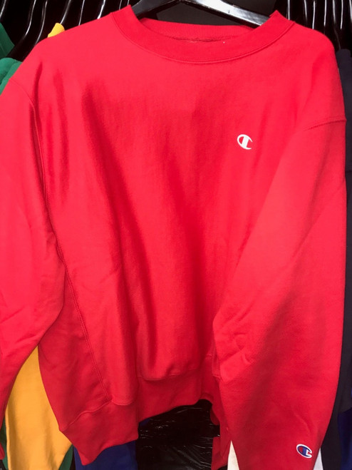 Champion Logo Reverse Weave Red Crewneck Jersey