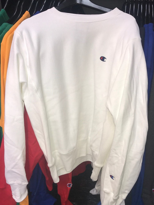 Champion Logo Reverse Weave White Crewneck Jersey