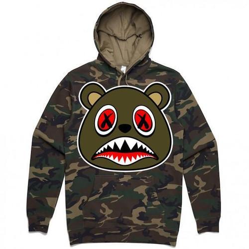 BAWS Bear Olive Logo Camo Hoodie