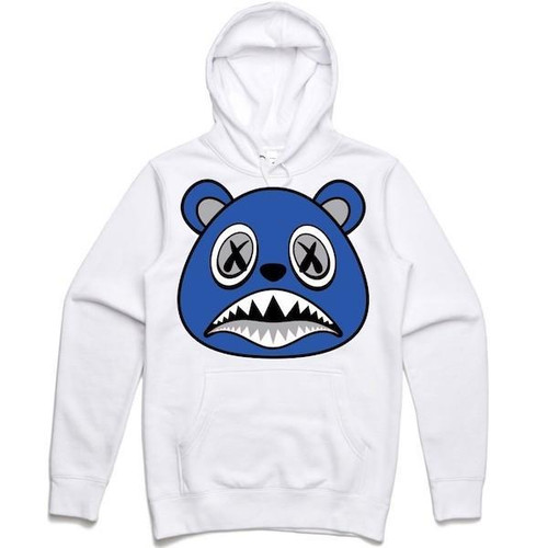 BAWS Bear Blue Logo White Hoodie