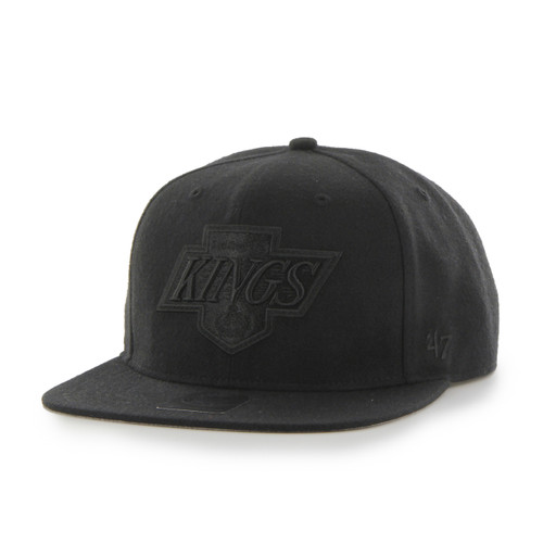 Los Angeles Kings 47Brand Black Logo NHL Black Flat Peak Snapback