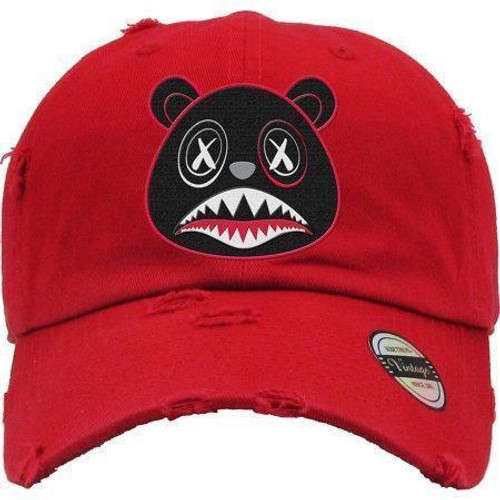 BAWS Red Outline Black Bear Red Dad Hat