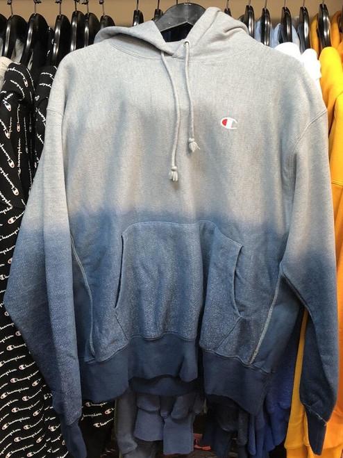 Champion Reverse Weave Dip Dye Grey/Blue Hoodie Pullover Jersey