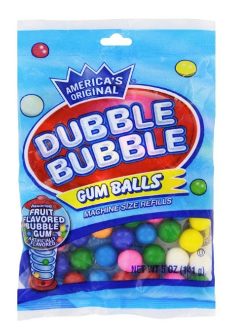 Dubble Bubble Cotton Candy Gumballs 4oz Peg Bag