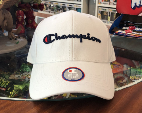 Champion Script White Strapback Curved Hat