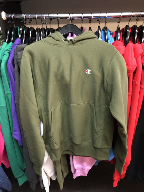 Champion Reverse Weave Olive Hoodie Pullover Jersey