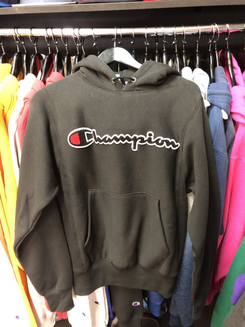 Champion Reverse Weave Black Script Hoodie Pullover Jersey