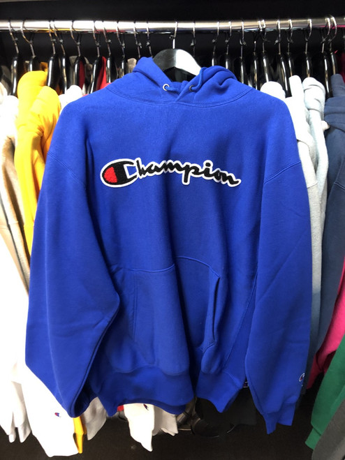Champion Reverse Weave Blue Script Hoodie Pullover Jersey