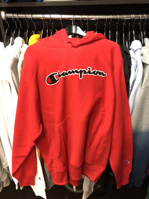 Champion Reverse Weave Red Script Hoodie Pullover Jersey