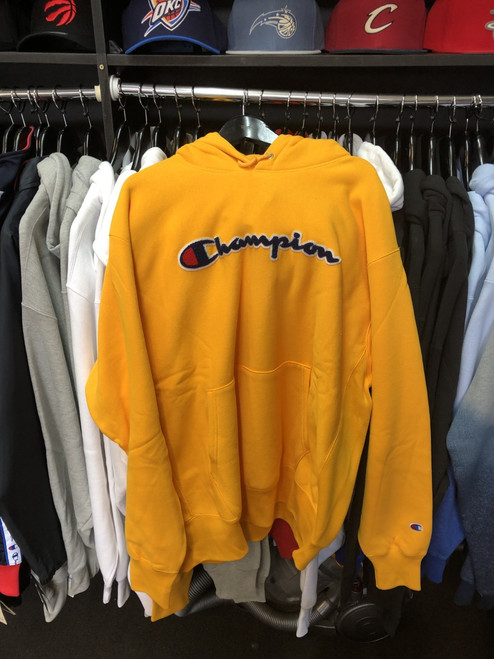 Champion Reverse Weave Yellow Script Hoodie Pullover Jersey