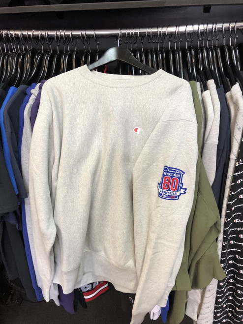 Champion Reverse Weave Grey Crew Neck Jersey 80 Year Anniversary