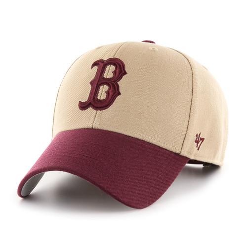 97f5aa2708a213 Boston Red Sox Khaki/Maroon Logo MVP 47Brand MLB Strapback Hat