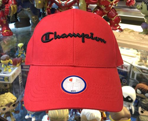 Champion Script Red Strapback Hat