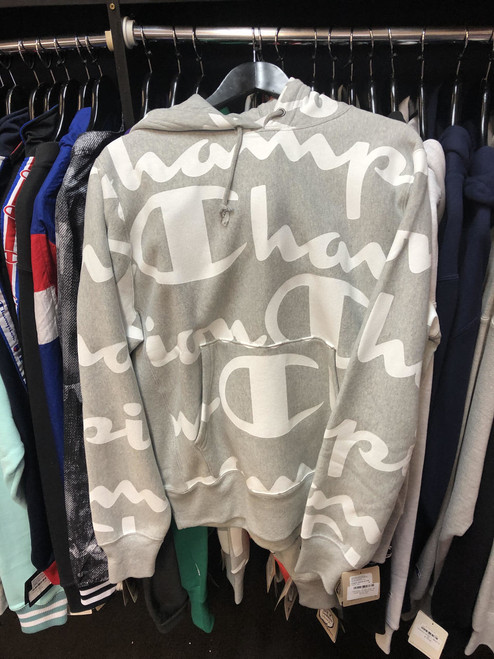 Champion Reverse Weave Script Stripe Grey Hoodie Pullover Jersey