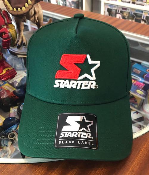 Red & White Logo STARTER Green Snapback Hat