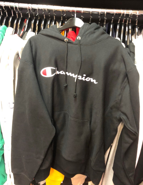 Champion Reverse Weave Embroidered Script Black Hoodie Pullover Jersey
