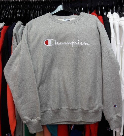 Champion Reverse Weave Embroidered Script Grey Crewneck Jersey